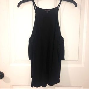 Express Black Top with Ruffle Detail Size Small